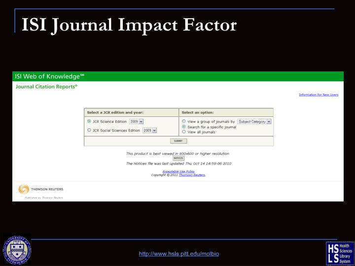 ISI Journal Impact Factor