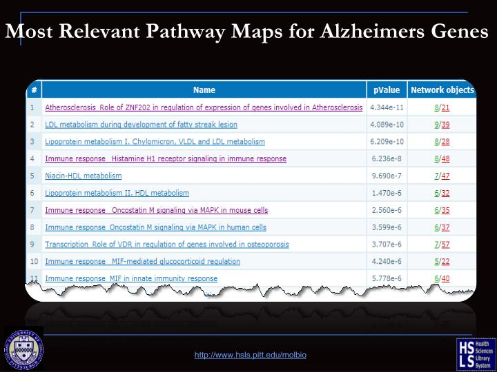 Most Relevant Pathway Maps for