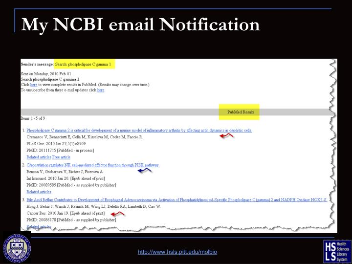 My NCBI email Notification
