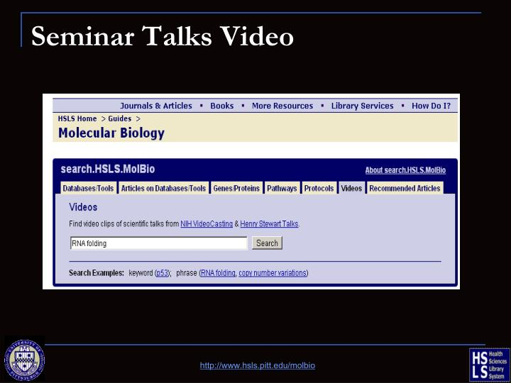 Seminar Talks Video