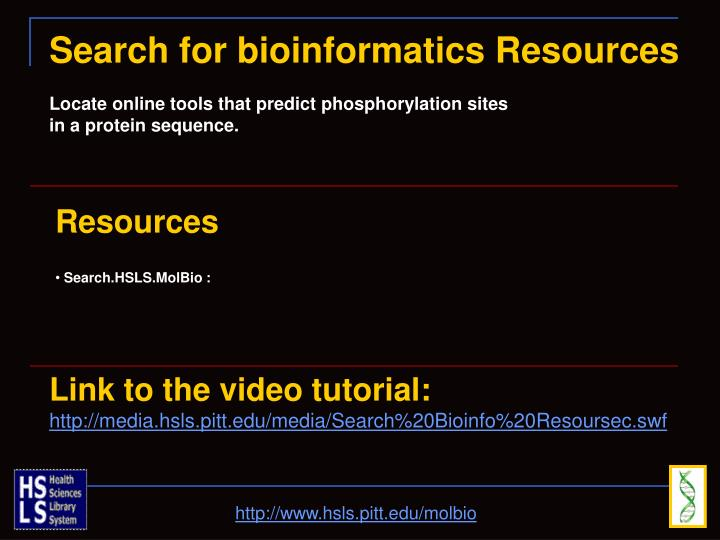 Search for bioinformatics Resources