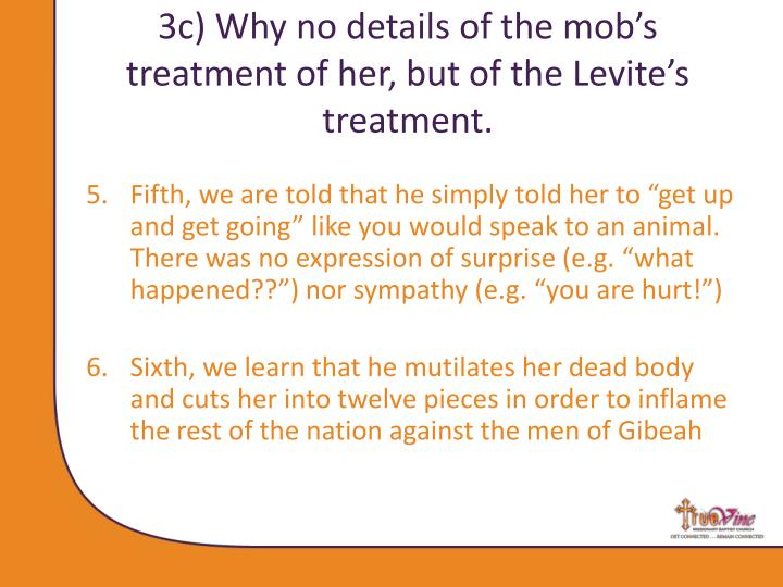 3c) Why no details of the mob's treatment of her, but of the Levite's treatment.