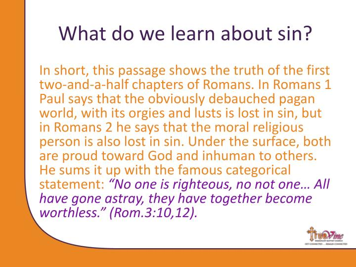 What do we learn about sin?