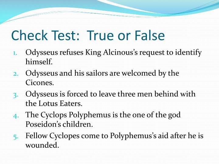 Check Test:  True or False