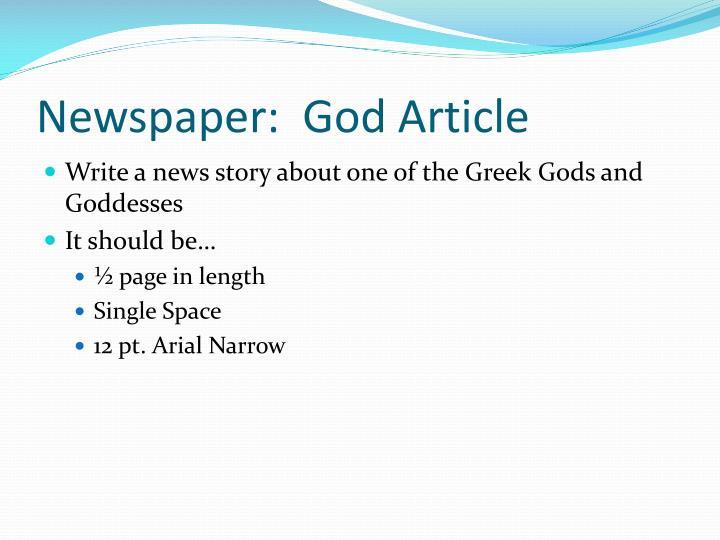 Newspaper:  God Article