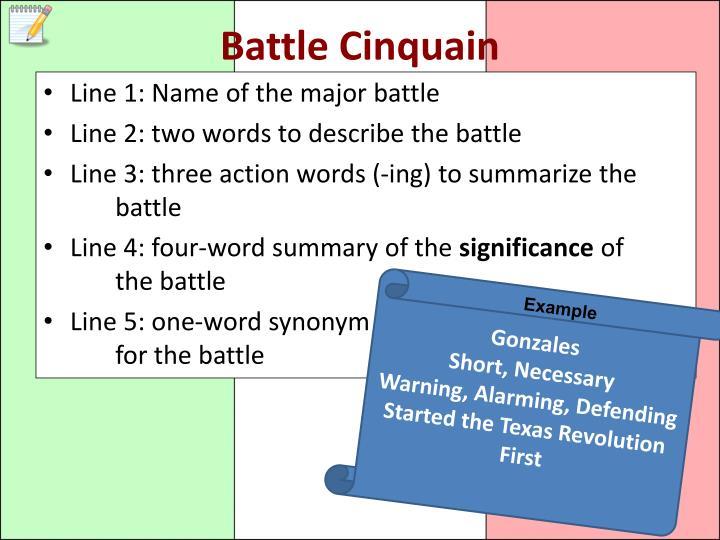 Battle Cinquain