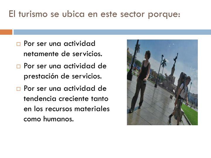 El turismo se ubica en este sector porque: