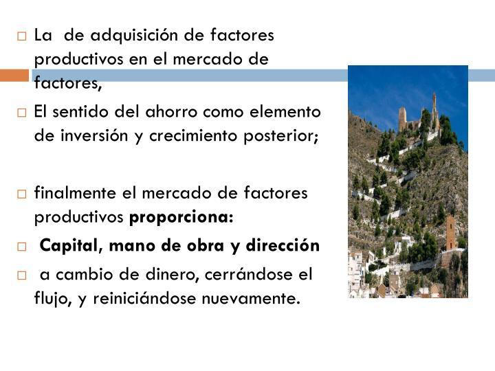 La  de adquisición de factores productivos en el mercado de factores,