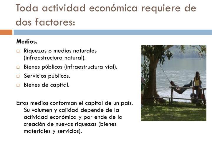 Toda actividad económica requiere de dos factores: