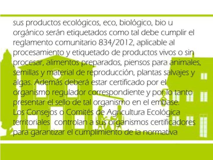 sus productos ecológicos, eco, biológico,