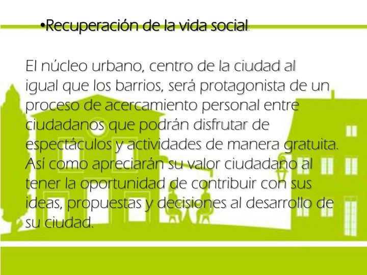 Recuperación de la vida social