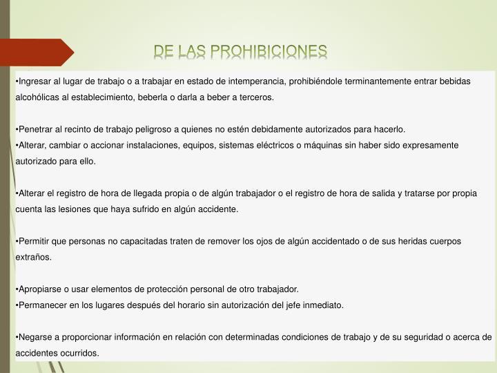 DE LAS PROHIBICIONES