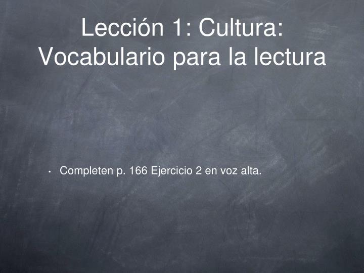 Lección 1: Cultura: