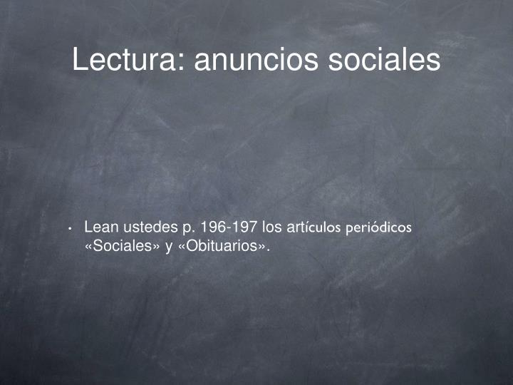 Lectura: anuncios sociales