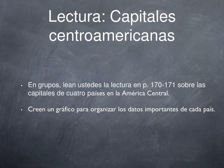 Lectura: Capitales centroamericanas