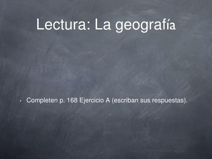 Lectura: La geograf