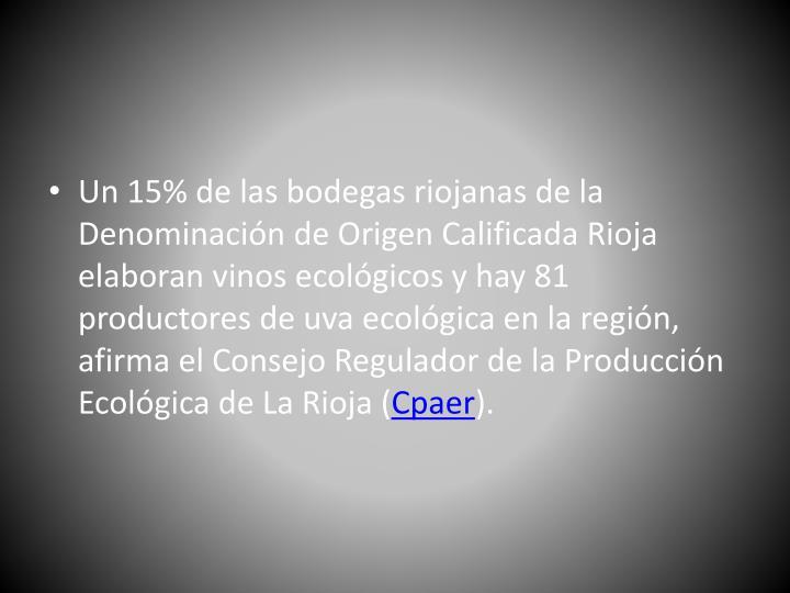 Un 15% de las bodegas riojanas de la Denominación de Origen Calificada Rioja elaboran vinos ecológicos y hay 81 productores de uva ecológica en la región, afirma el Consejo Regulador de la Producción Ecológica de La Rioja (