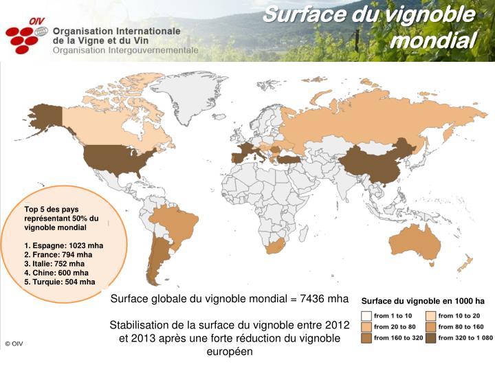 Surface du vignoble mondial