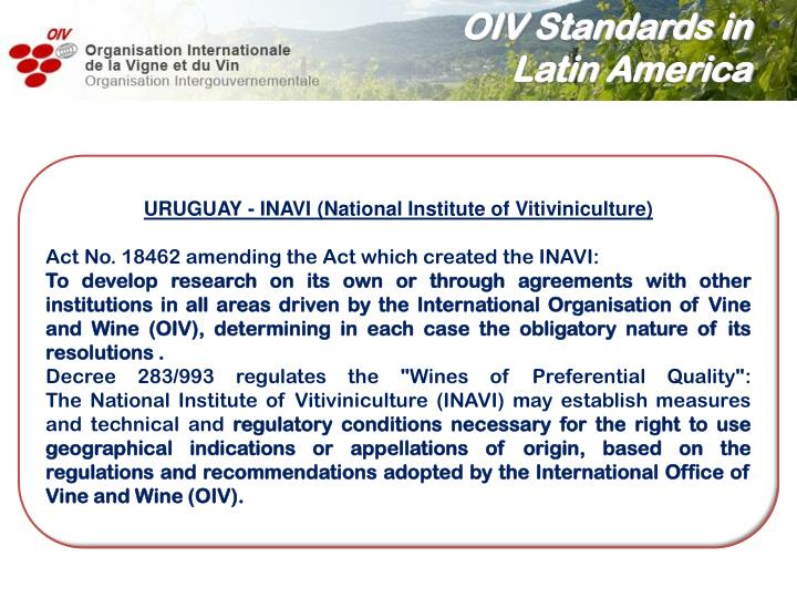 OIV Standards in
