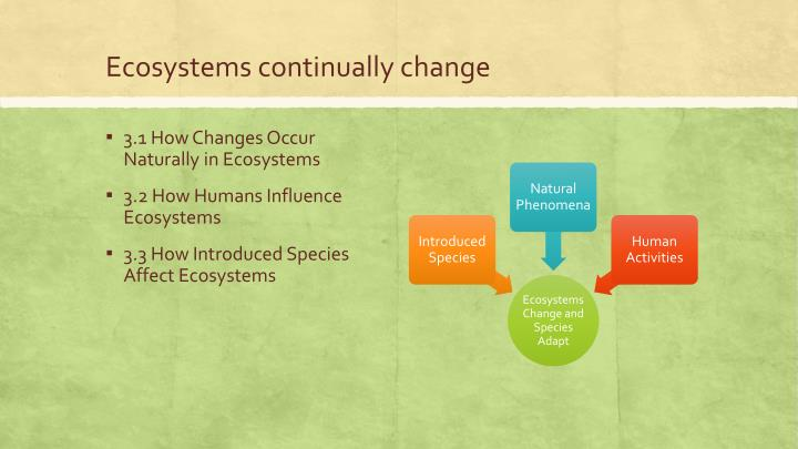 Ecosystems continually change