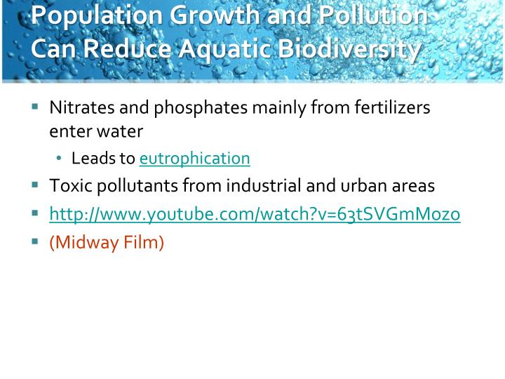 Population Growth and Pollution Can Reduce Aquatic Biodiversity