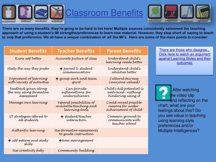 Classroom Benefits