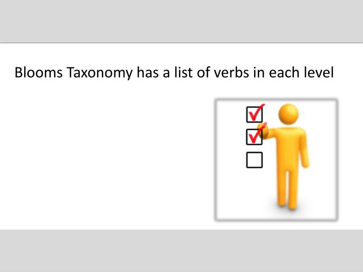 Blooms Taxonomy has a list of verbs in each level