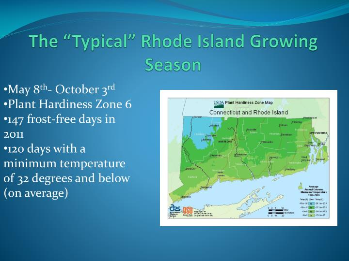 The typical rhode island growing season