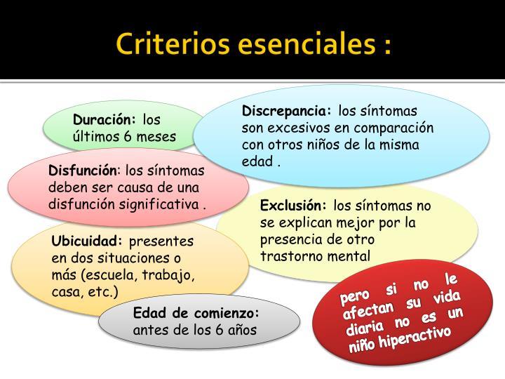 Criterios esenciales :