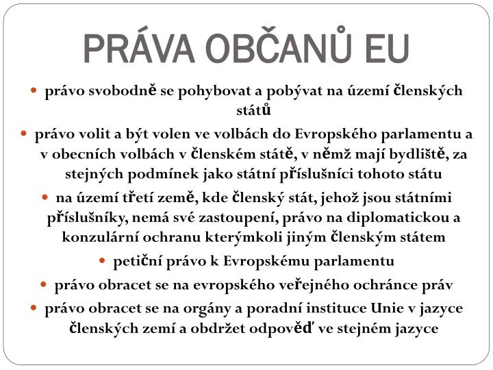 PRÁVA OBČANŮ EU