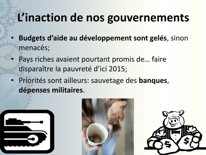 L'inaction de nos gouvernements