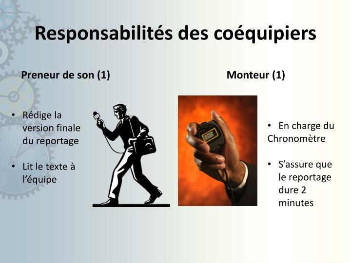 Responsabilités des coéquipiers