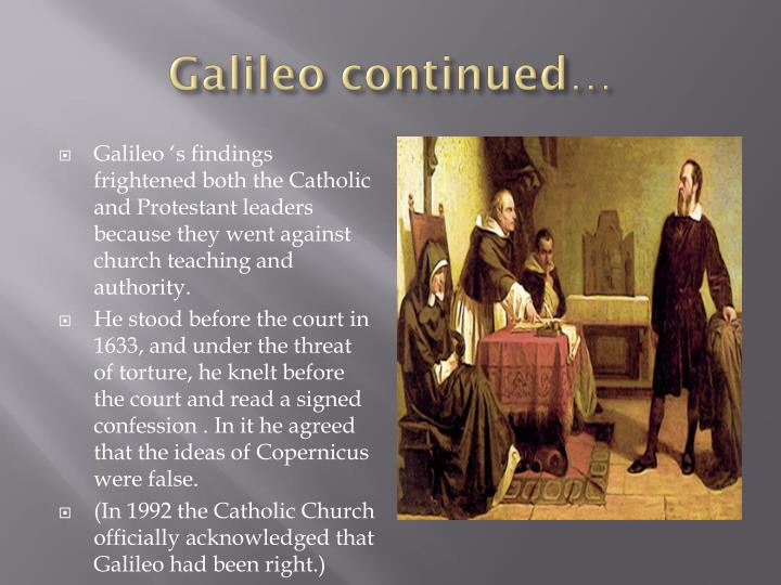 Galileo continued…