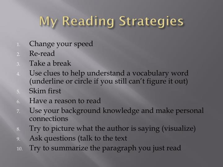 My Reading Strategies