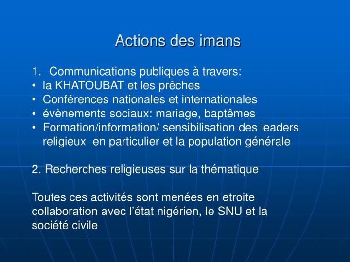 Actions des imans