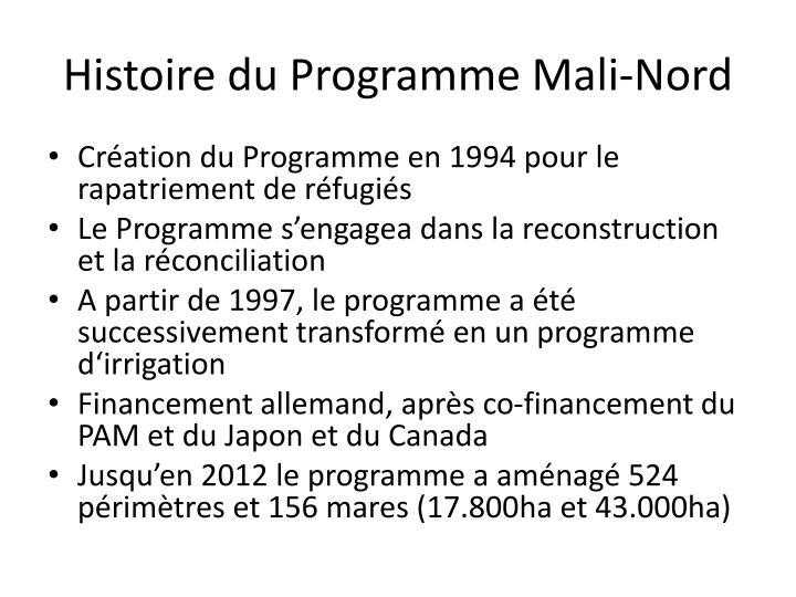 Histoire du Programme Mali-Nord