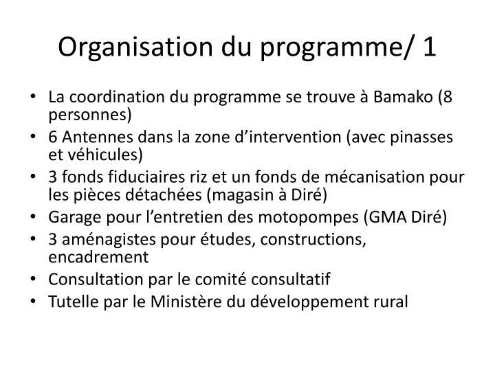 Organisation du programme/ 1