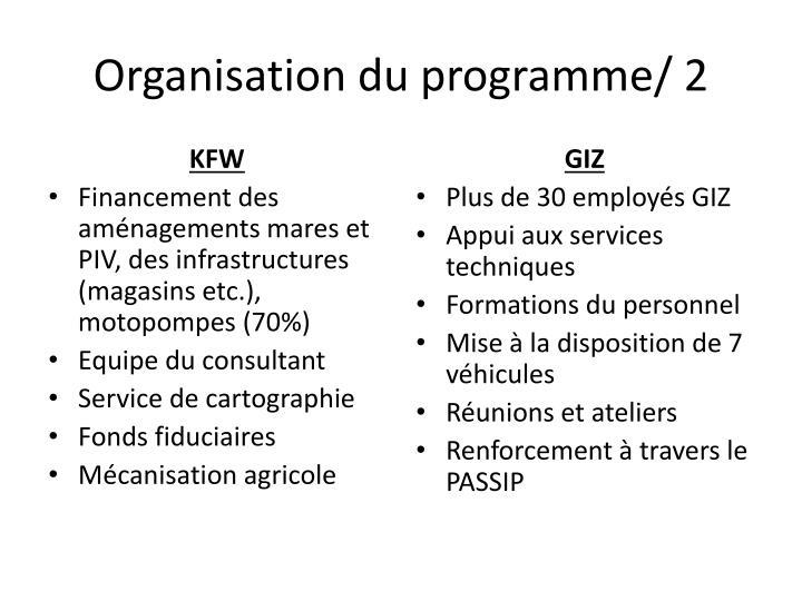 Organisation du programme/ 2