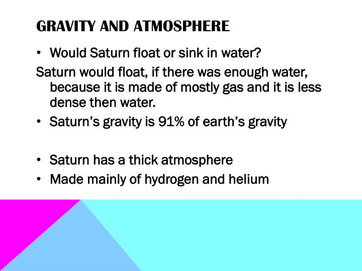 Gravity and atmosphere