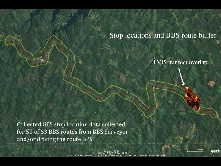 Stop locations and BBS route buffer