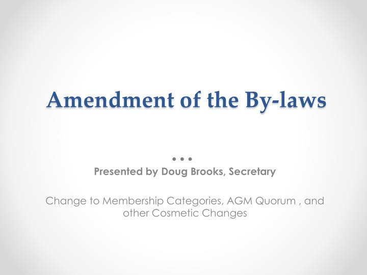 Amendment of the By-laws
