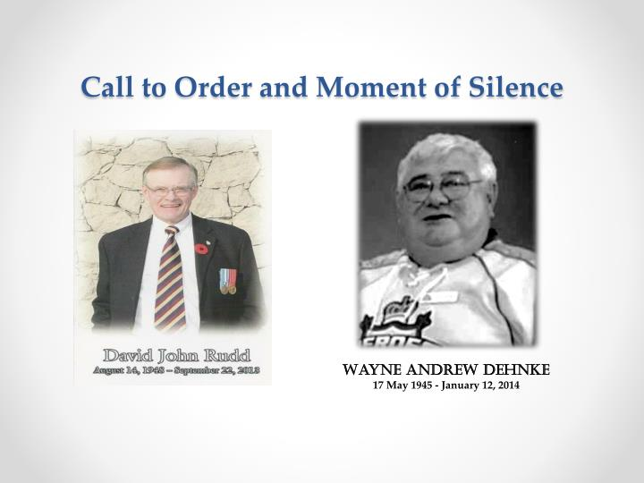 Call to Order and Moment of Silence