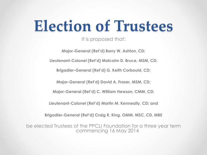 Election of Trustees