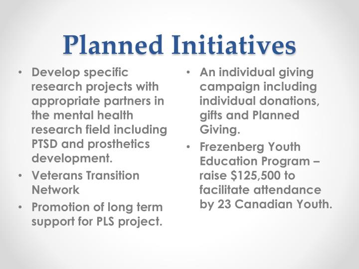 Planned Initiatives