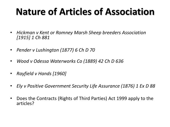 Nature of Articles of Association