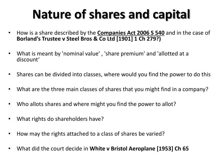Nature of shares and capital