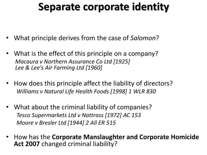 Separate corporate identity