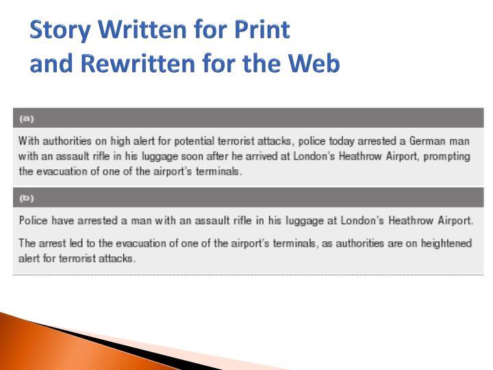 Story Written for Print