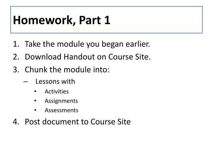 Homework, Part 1