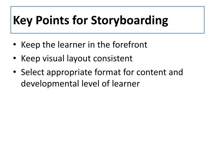 Key Points for Storyboarding